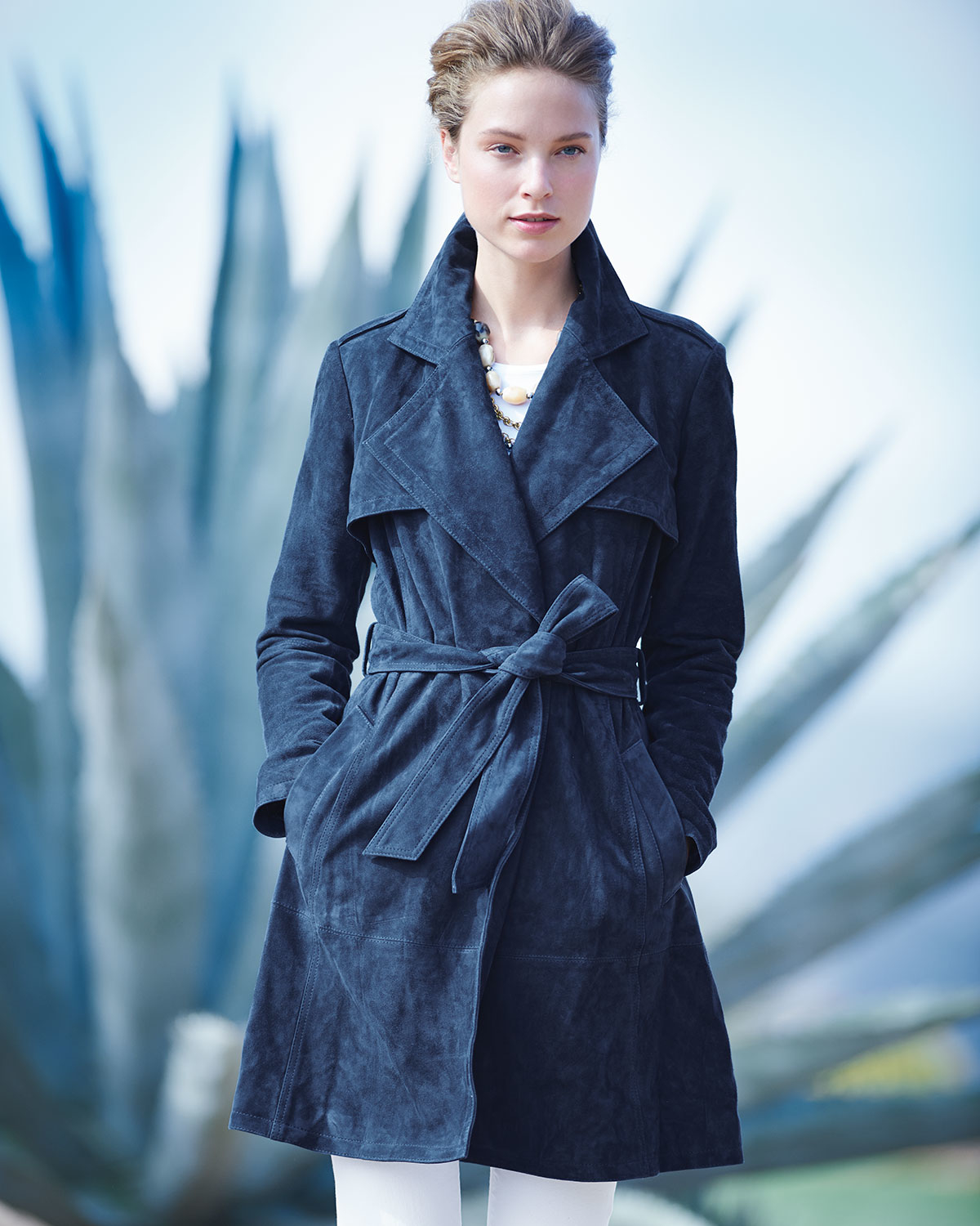 7d322616a Neiman Marcus Blue Long-sleeve Belted Suede Trenchcoat