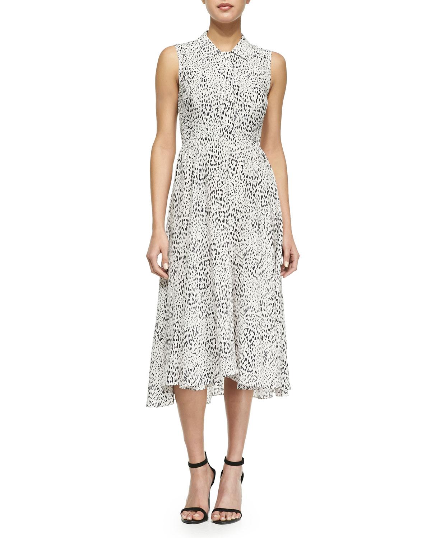 cf89d912bf6 Lyst - Rebecca Taylor Leopard-Print Silk A-Line Shirtdress in Gray