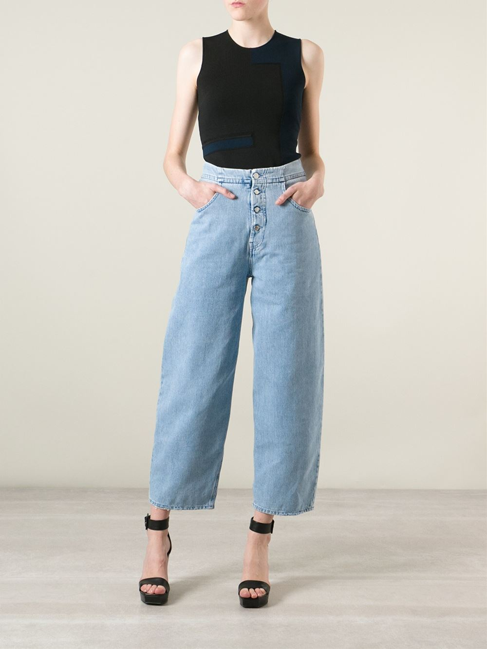 Mm6 by maison martin margiela wide leg jeans in blue lyst for Mm6 maison margiela