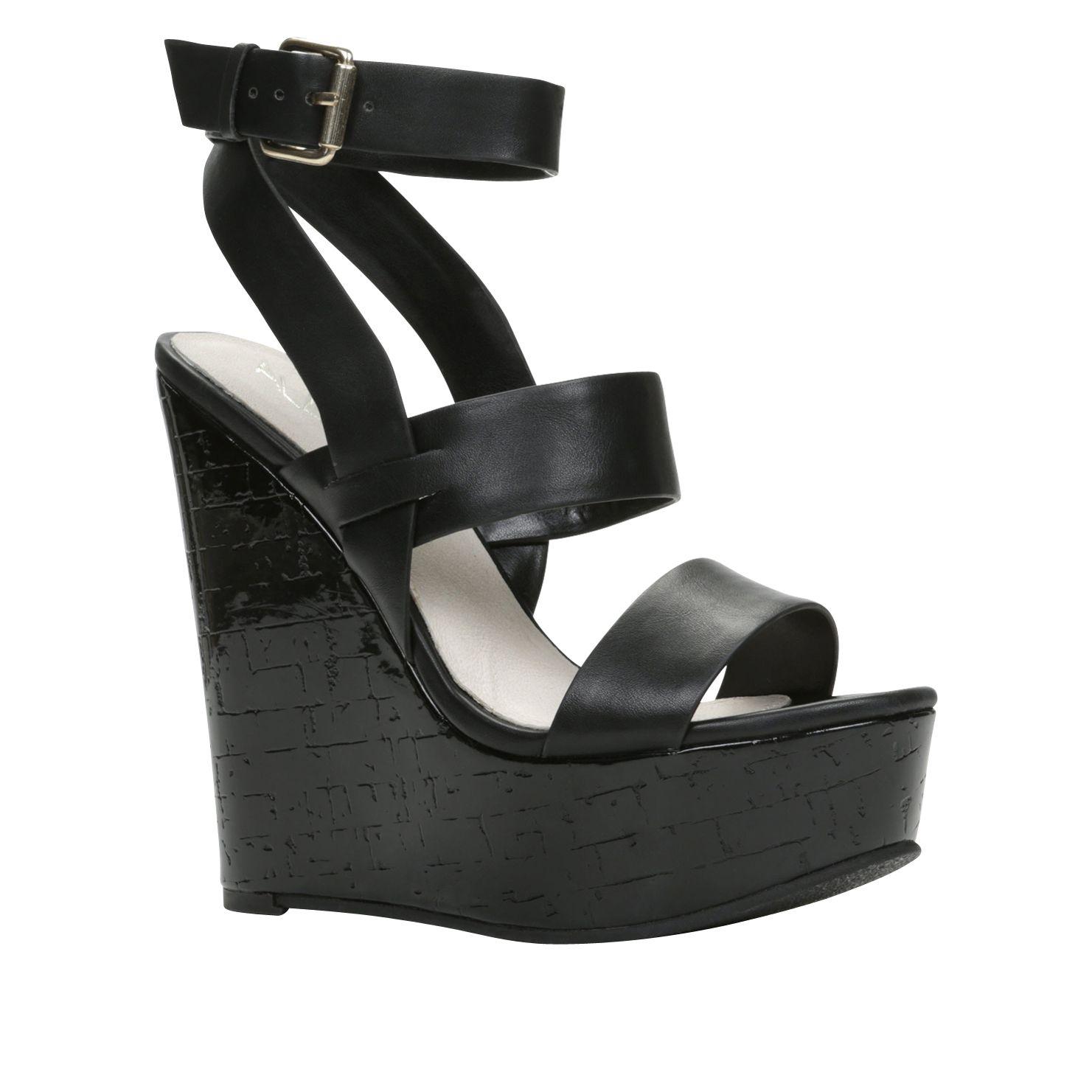 Aldo Birwen Ankle Strap Wedge Sandals in Black | Lyst