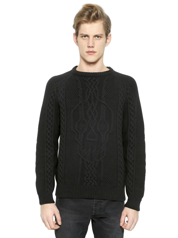 Alexander McQueen Aran Skull Sweater in Merino Wool in ...