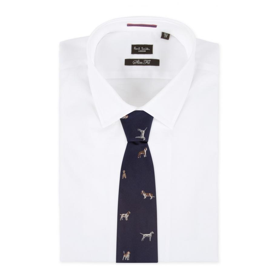 ... Black Men's Navy Assorted Dog Jacquard Classic Silk Tie for Men | Lyst