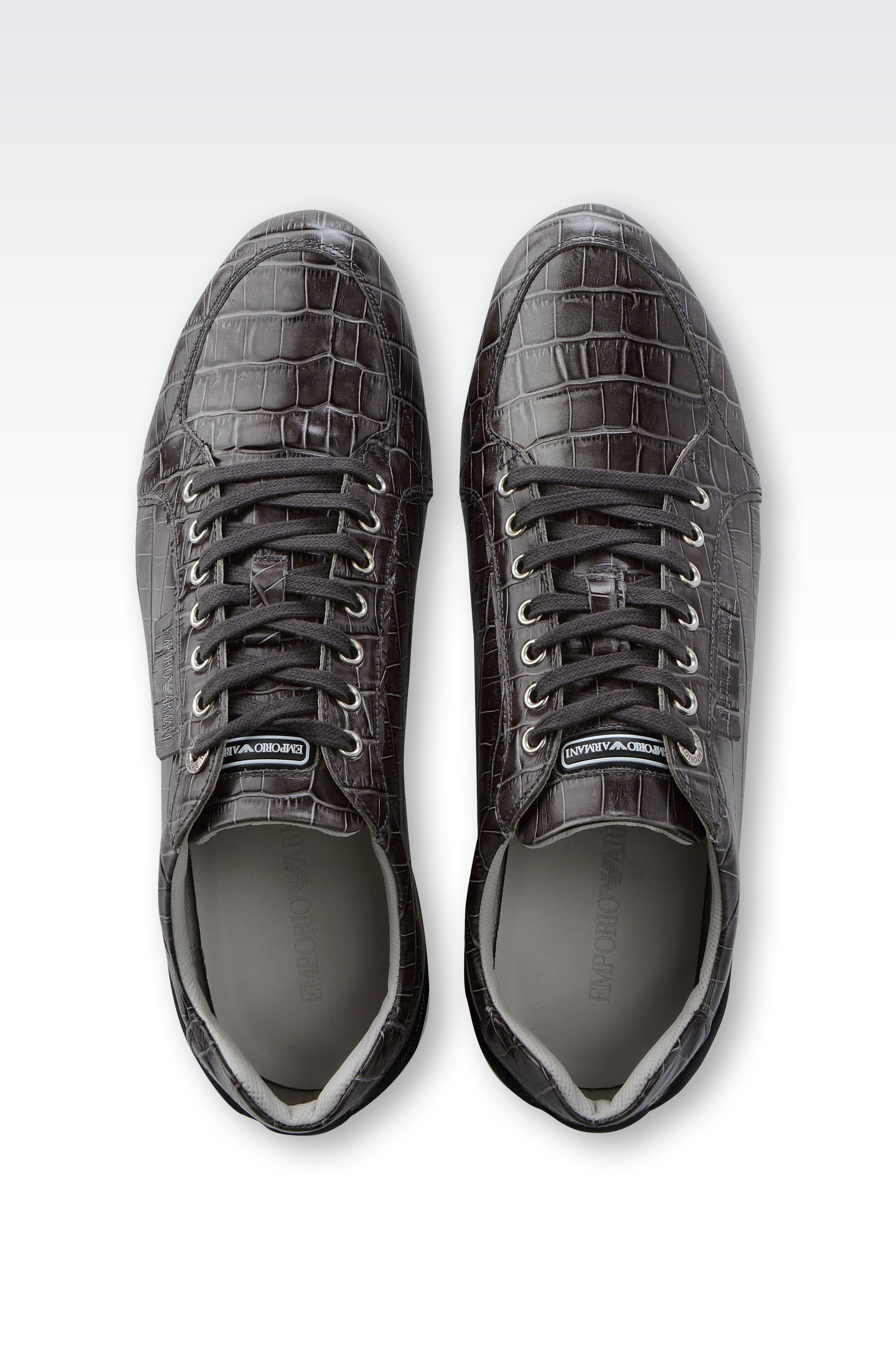 4bce42245b Emporio Armani Gray Leather Sneakers with Croc Print for men