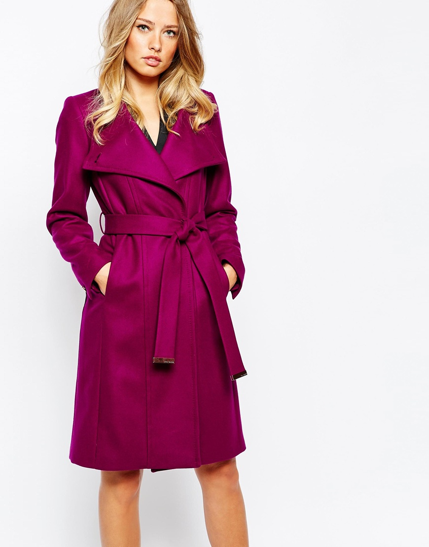 ted baker lorili long button detail wrap coat in purple lyst. Black Bedroom Furniture Sets. Home Design Ideas