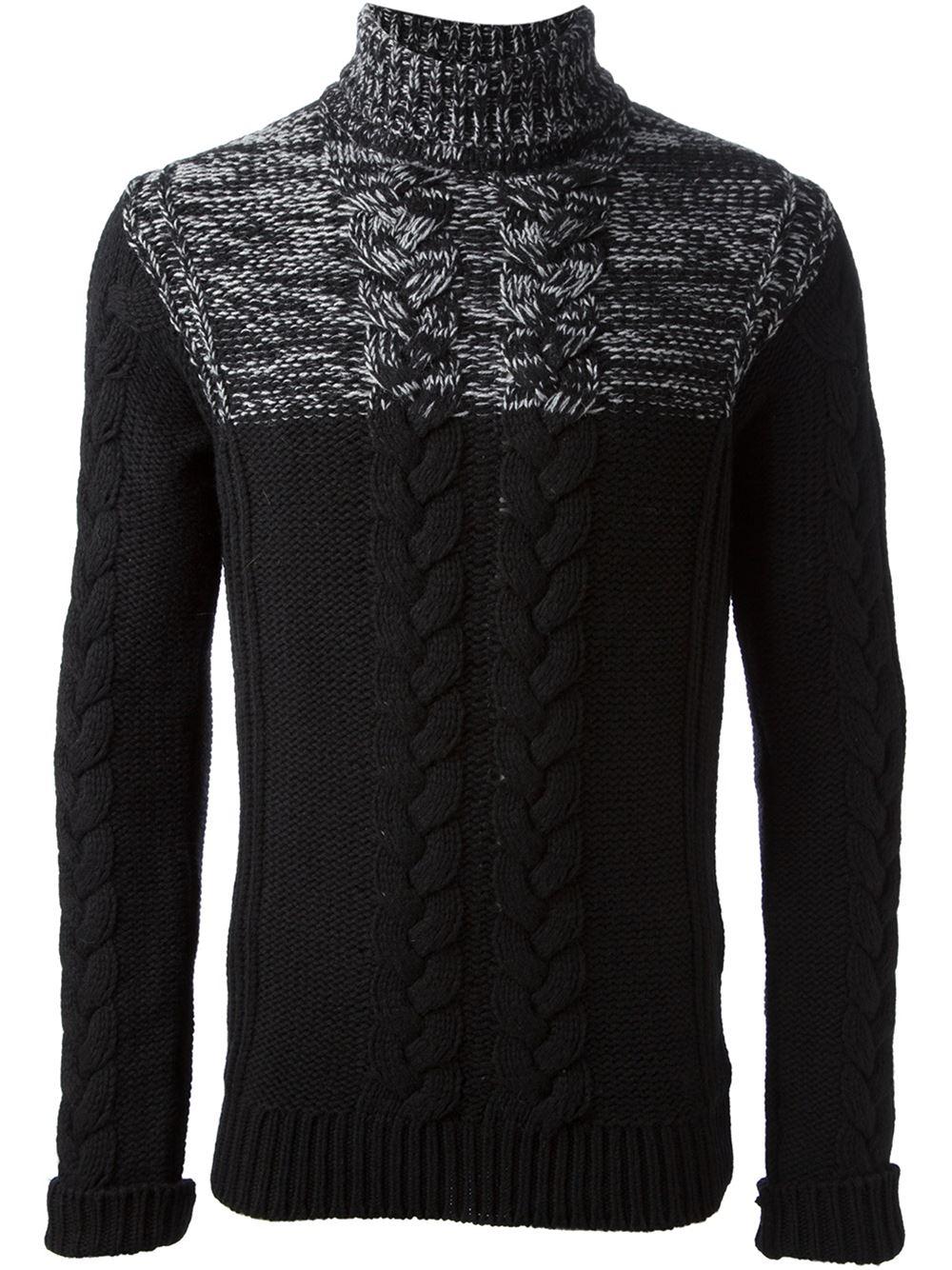 Diesel black gold Cable Knit Turtleneck Sweater in Black for Men ...