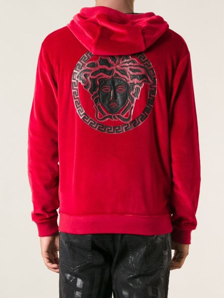 Versace Medusa Zipped Up Hoodie in Red for Men | Lyst