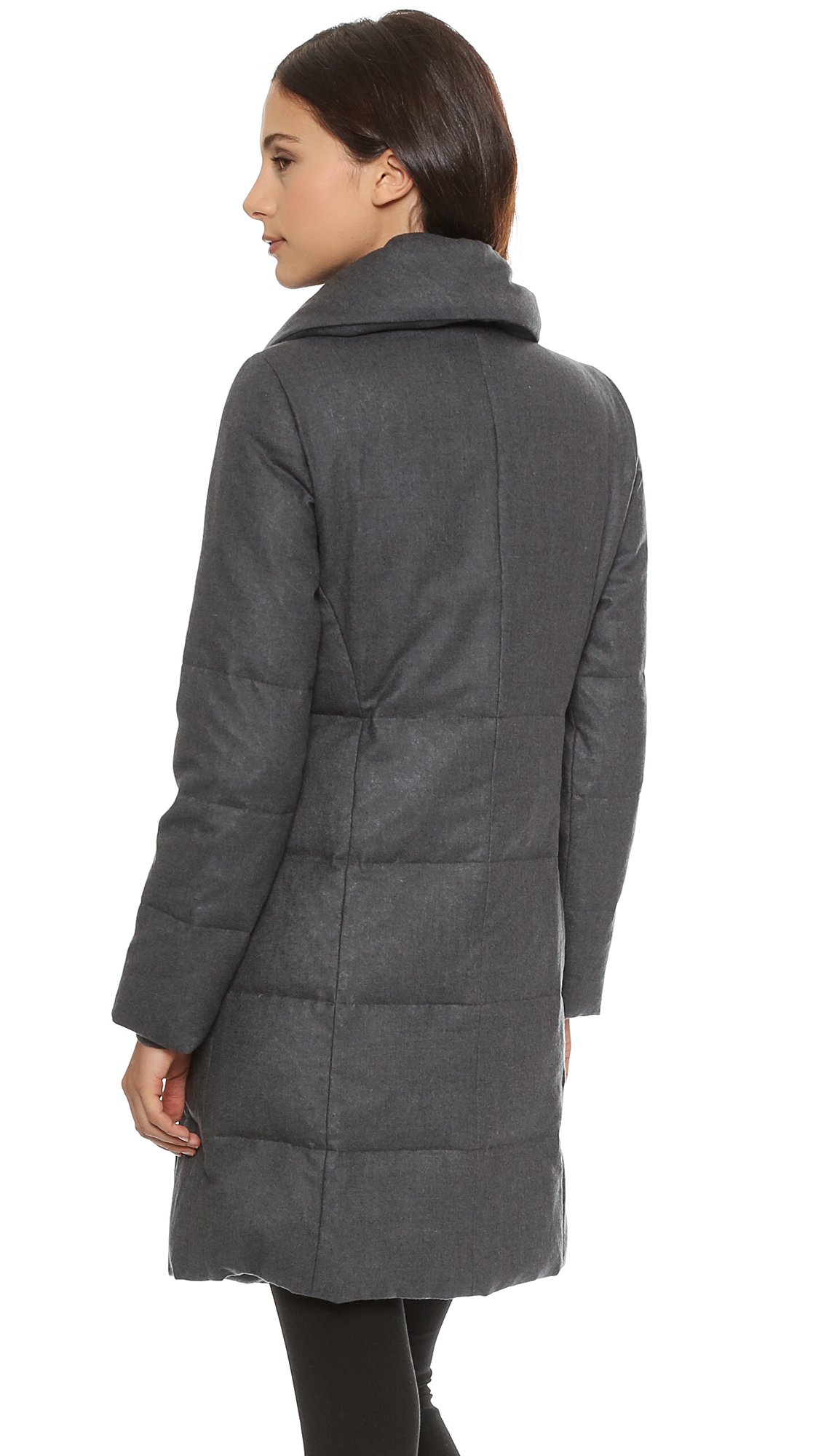 Dkny Pure Wool Puffer Coat Thunder In Gray Lyst