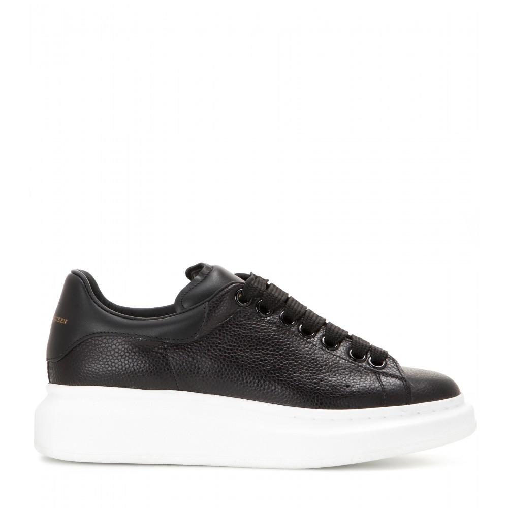 alexander mcqueen leather platform sneakers in black lyst. Black Bedroom Furniture Sets. Home Design Ideas