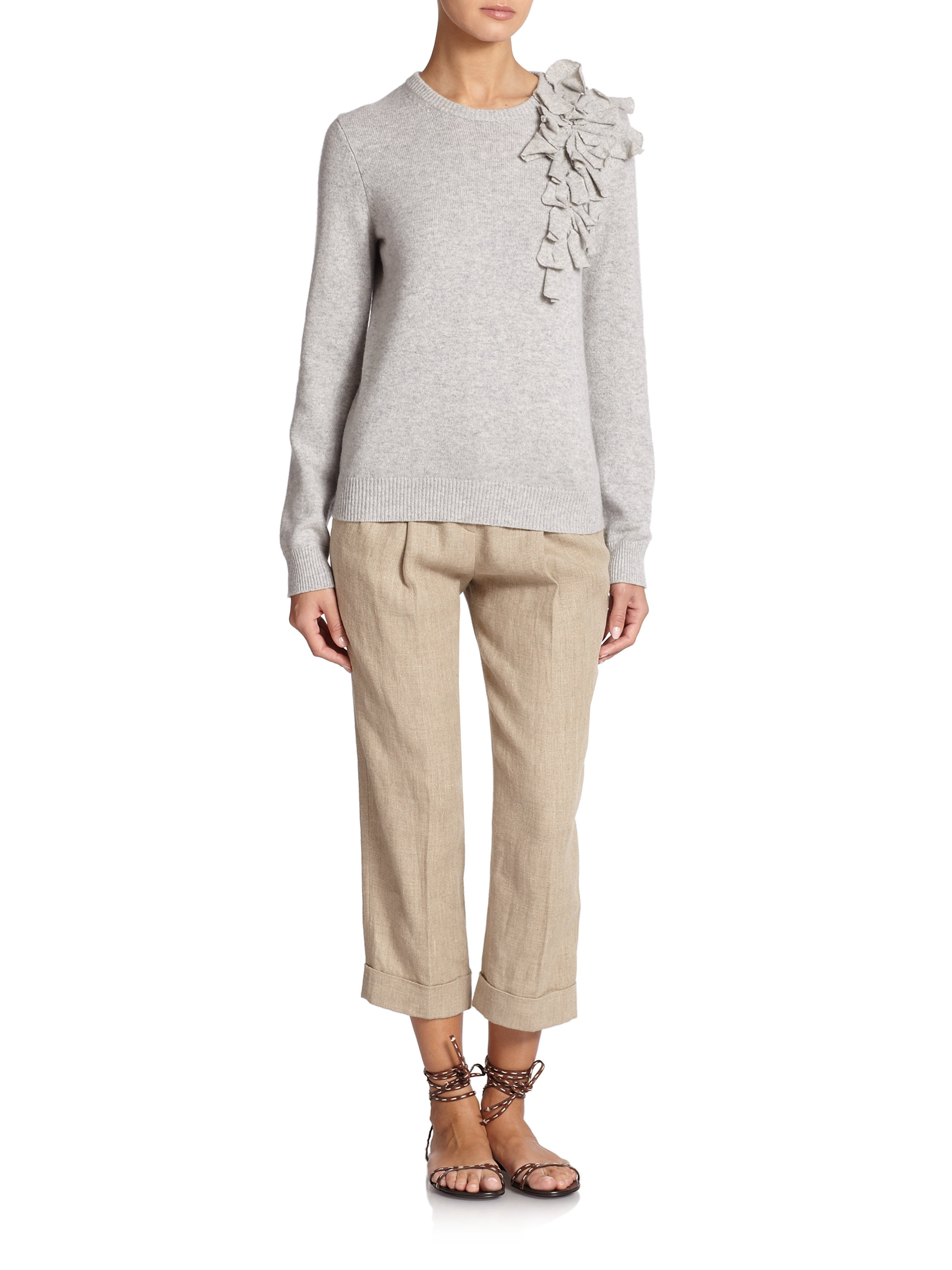 lyst michael kors cashmere corsage sweater in gray. Black Bedroom Furniture Sets. Home Design Ideas