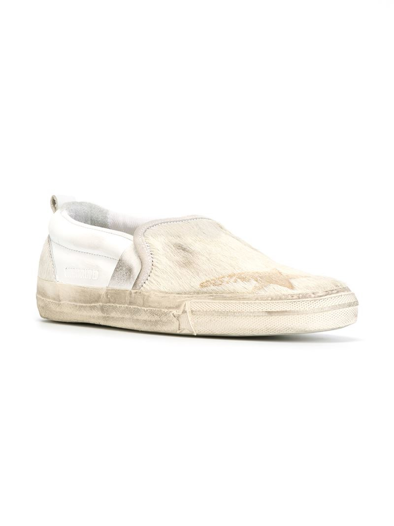 Golden Goose Deluxe Brand Sea Star Leather and Pony Fur Sneakers in White