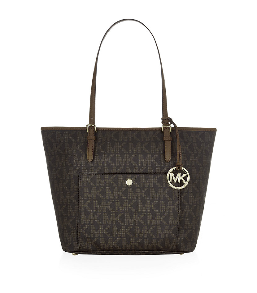 michael michael kors jet set snap pocket tote in brown lyst. Black Bedroom Furniture Sets. Home Design Ideas