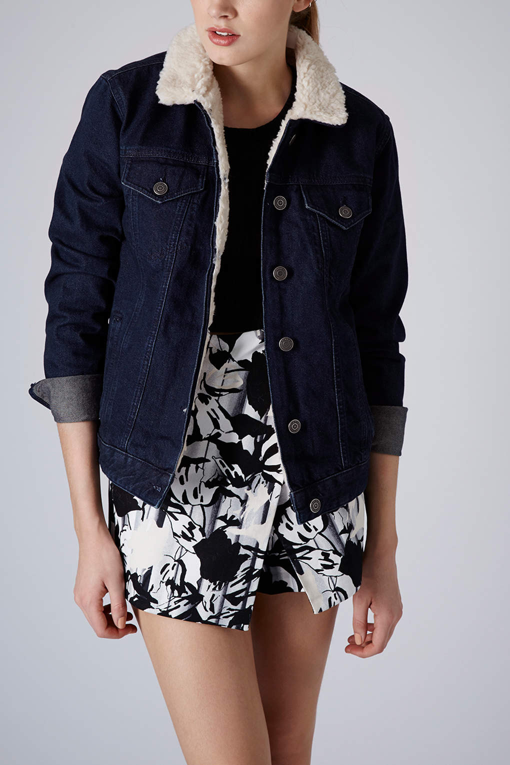 shopping incredible prices outlet for sale TOPSHOP Moto Indigo Borg Lined Jacket in Blue - Lyst