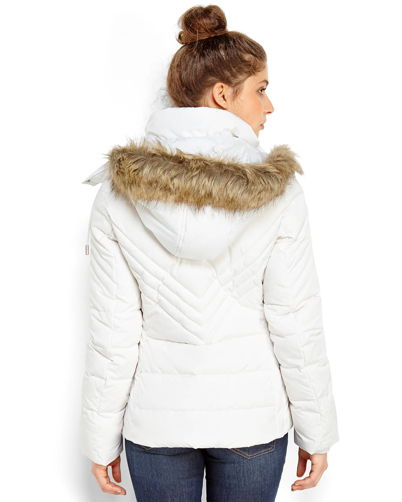 Kenneth cole reaction Faux Fur Trim Hooded Puffer Coat in White | Lyst