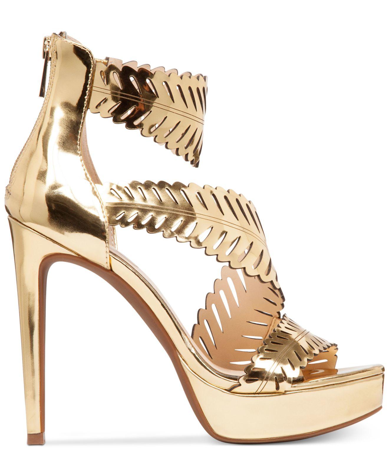 f742af7cbe32 Lyst - Jessica Simpson Azure Platform Dress Sandals in Metallic