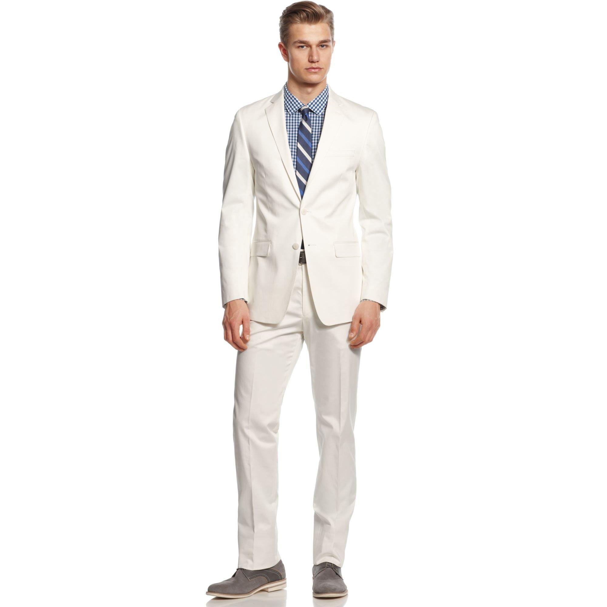 Calvin klein Suit White Cotton Slim Fit in White for Men | Lyst