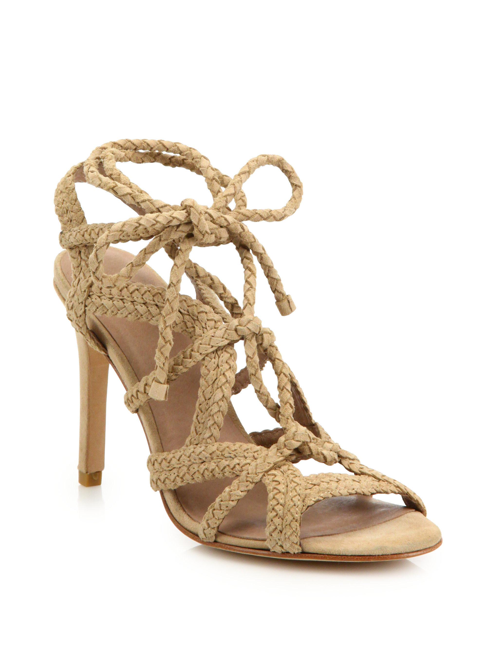 f8a5c872b73 Lyst - Joie Tonni Braided Suede Lace-up Sandals in Natural