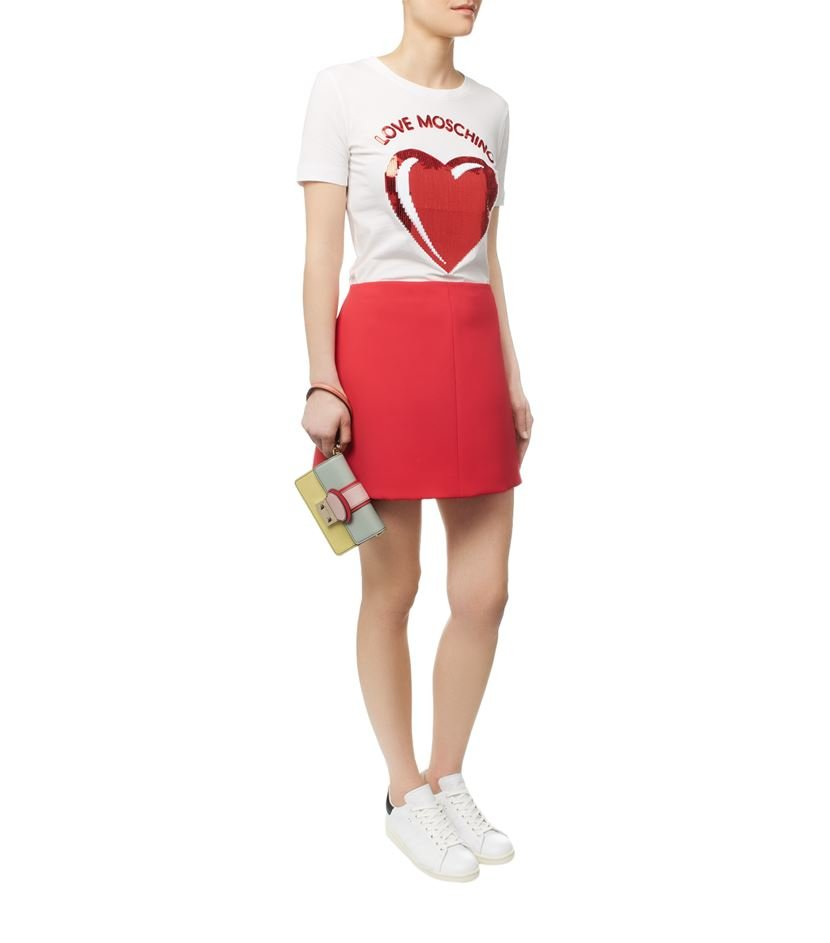 love moschino sequin heart t shirt in white lyst. Black Bedroom Furniture Sets. Home Design Ideas