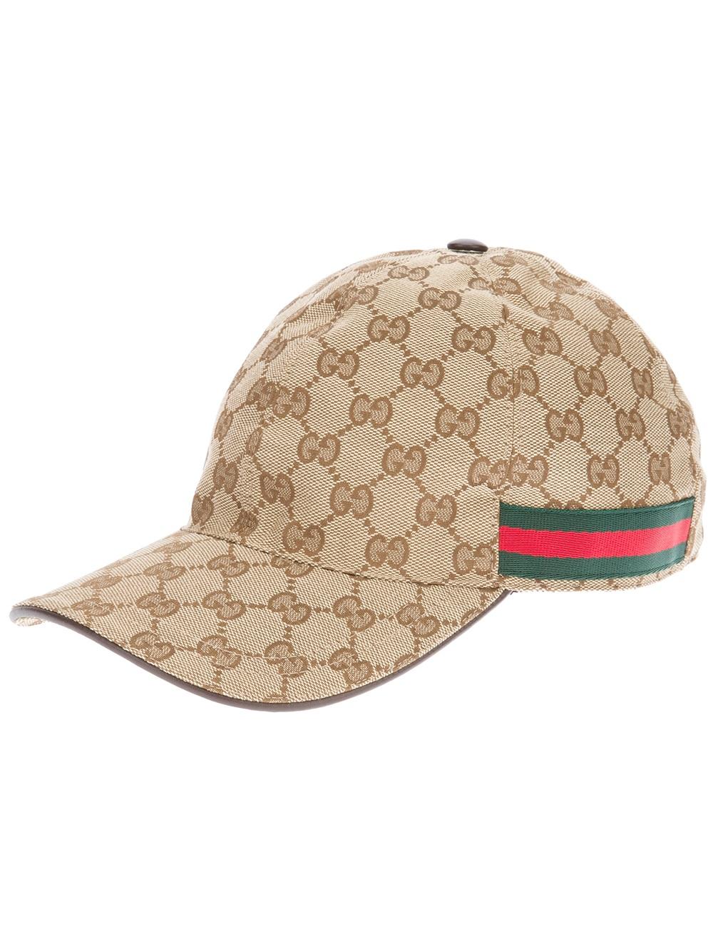 Lyst - Gucci Unisex Emblem Print Cap in Natural for Men 0f4c12c2f0f