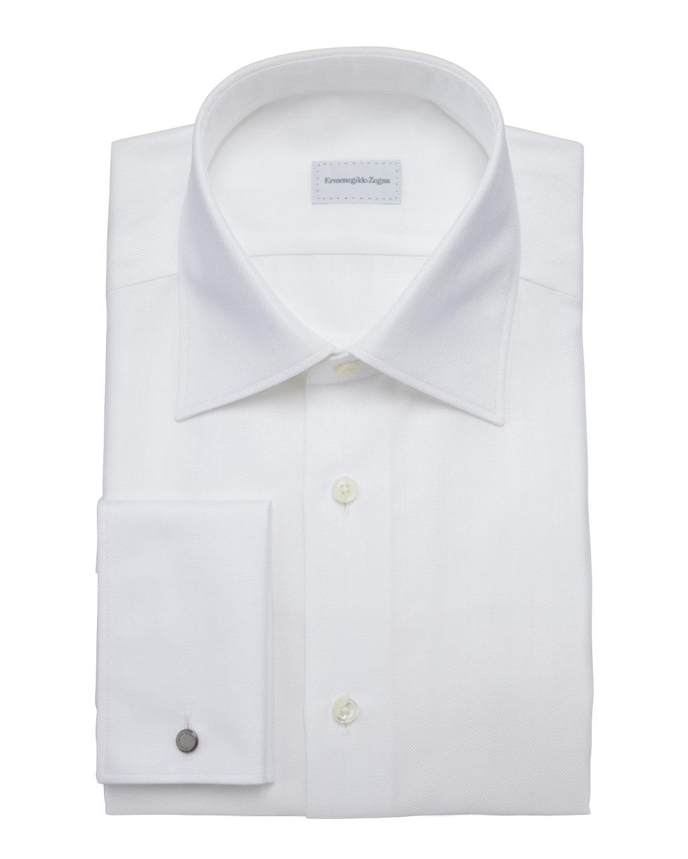 Ermenegildo zegna textured herringbone dress shirt in for White herringbone dress shirt