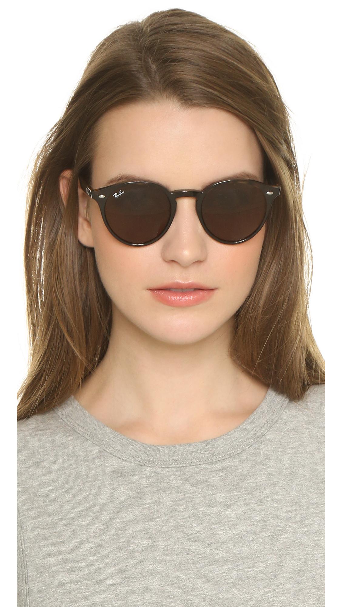 Ray Ban Highstreet Round Sunglasses Havana Dark Brown