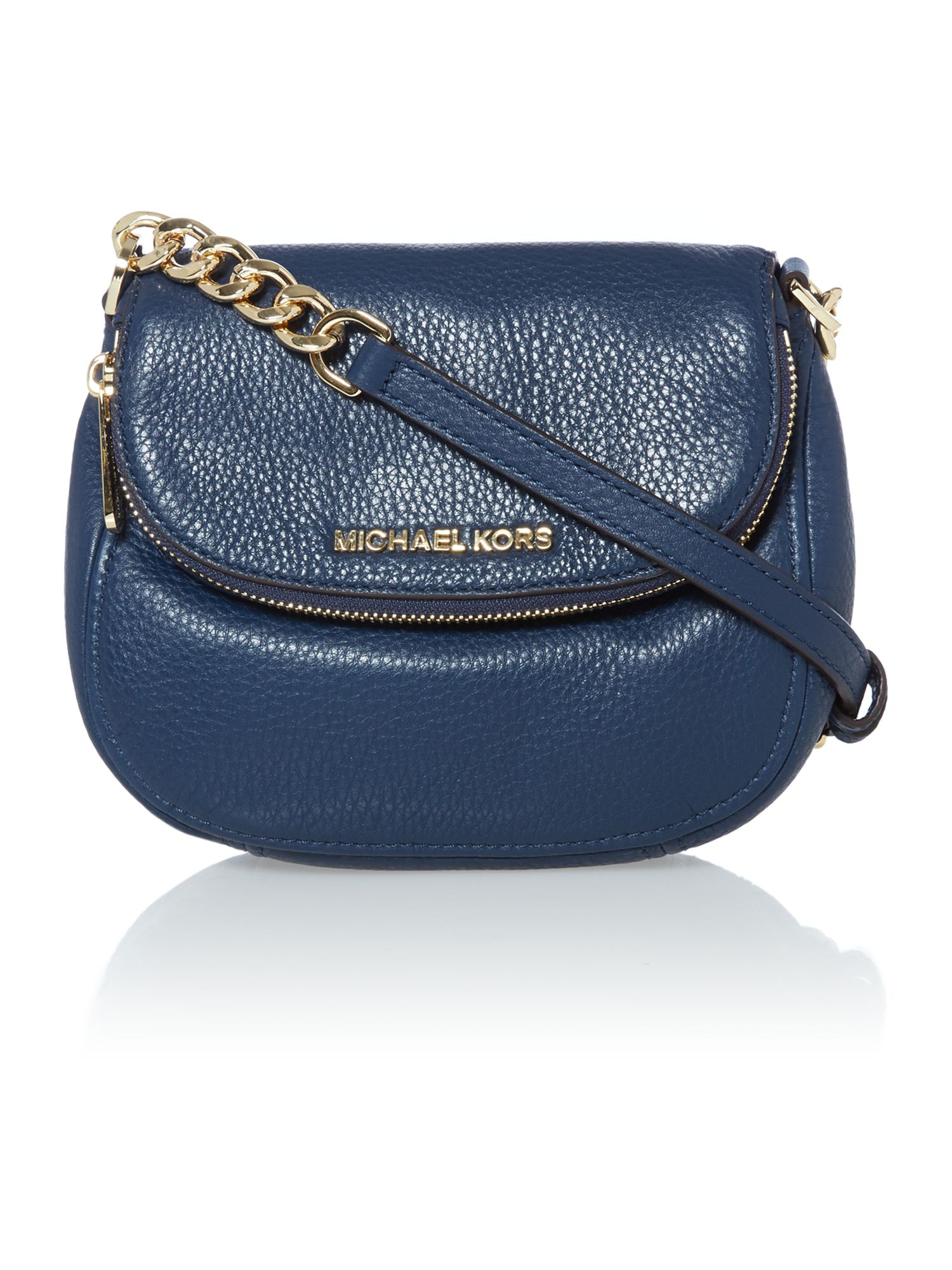 Michael Kors Bedford Navy Flap Over Cross Body Bag In Blue