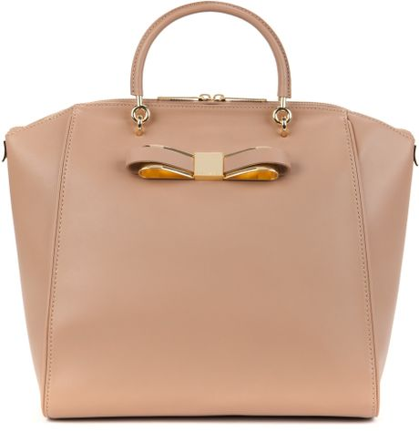 Ted Baker Large Bow Leather Tote Bag In Beige Natural