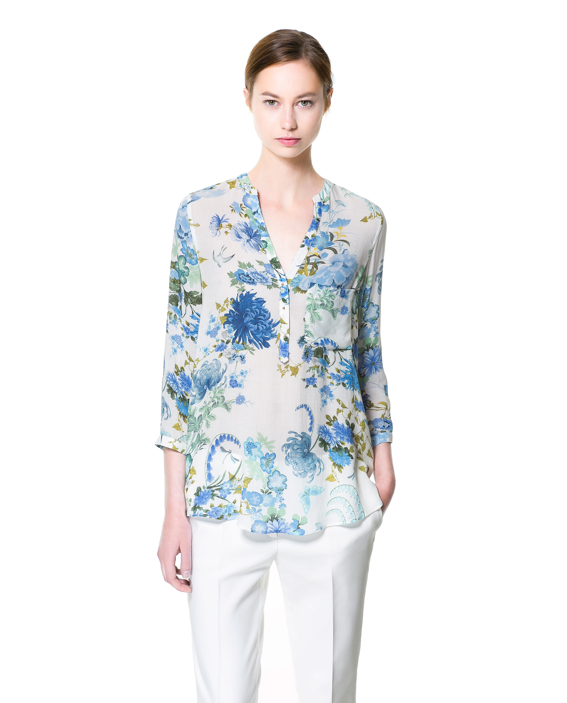 Zara Blue And White Floral Blouse 78