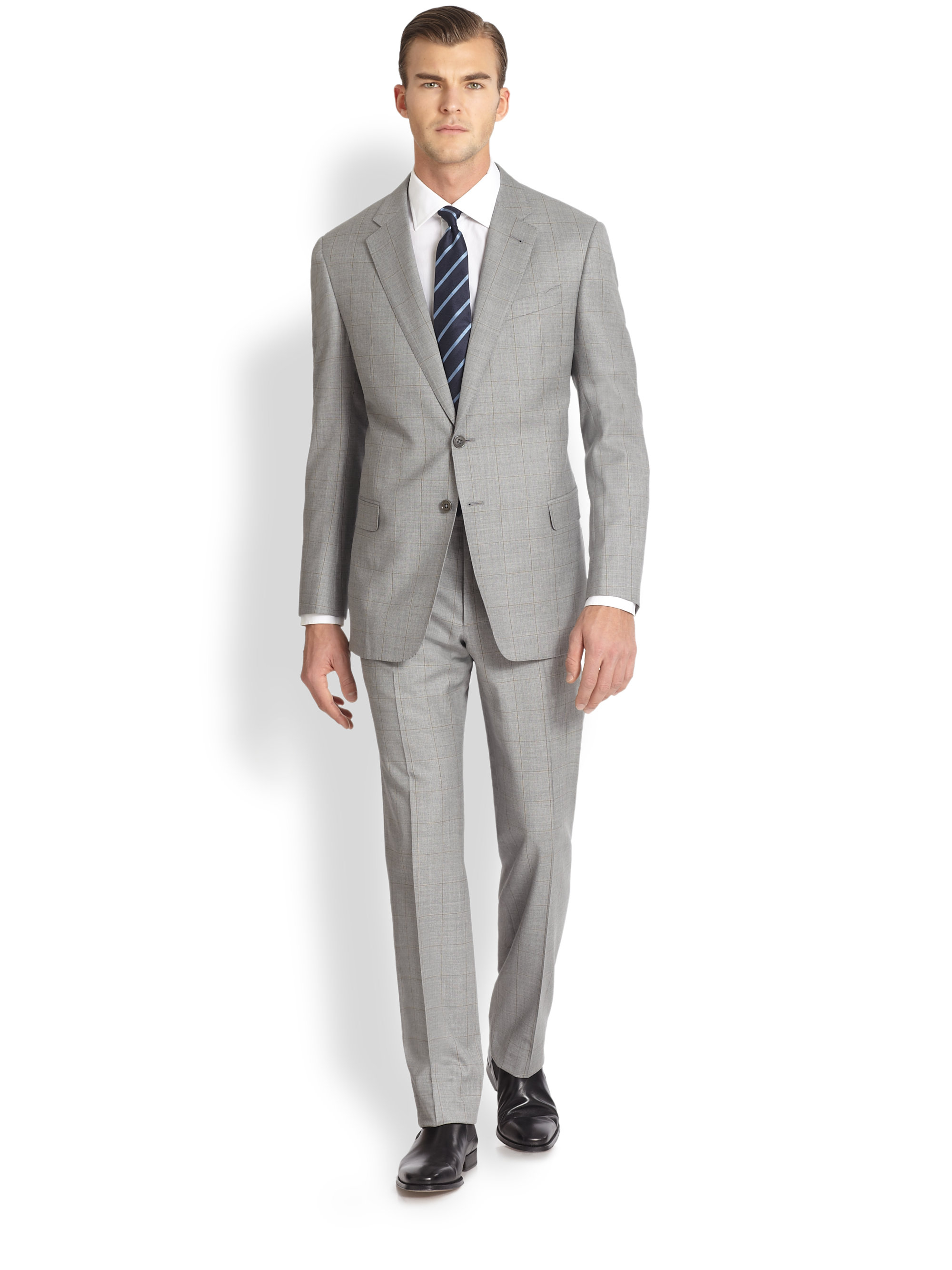 Armani two button wool suit in gray for men lyst