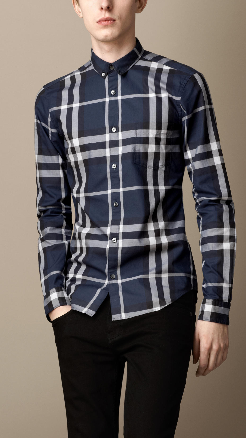0d9fce489eb3 Lyst - Burberry Exploded Check Cotton Shirt in Blue for Men