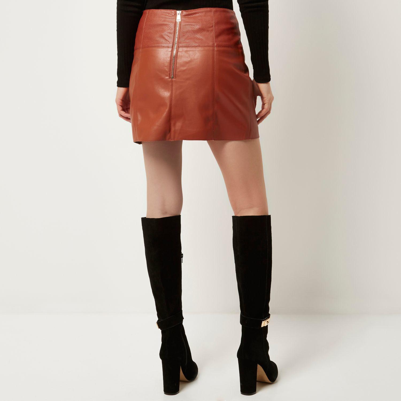 River island Rust Leather-look Zip-side Pelmet Skirt in Brown | Lyst