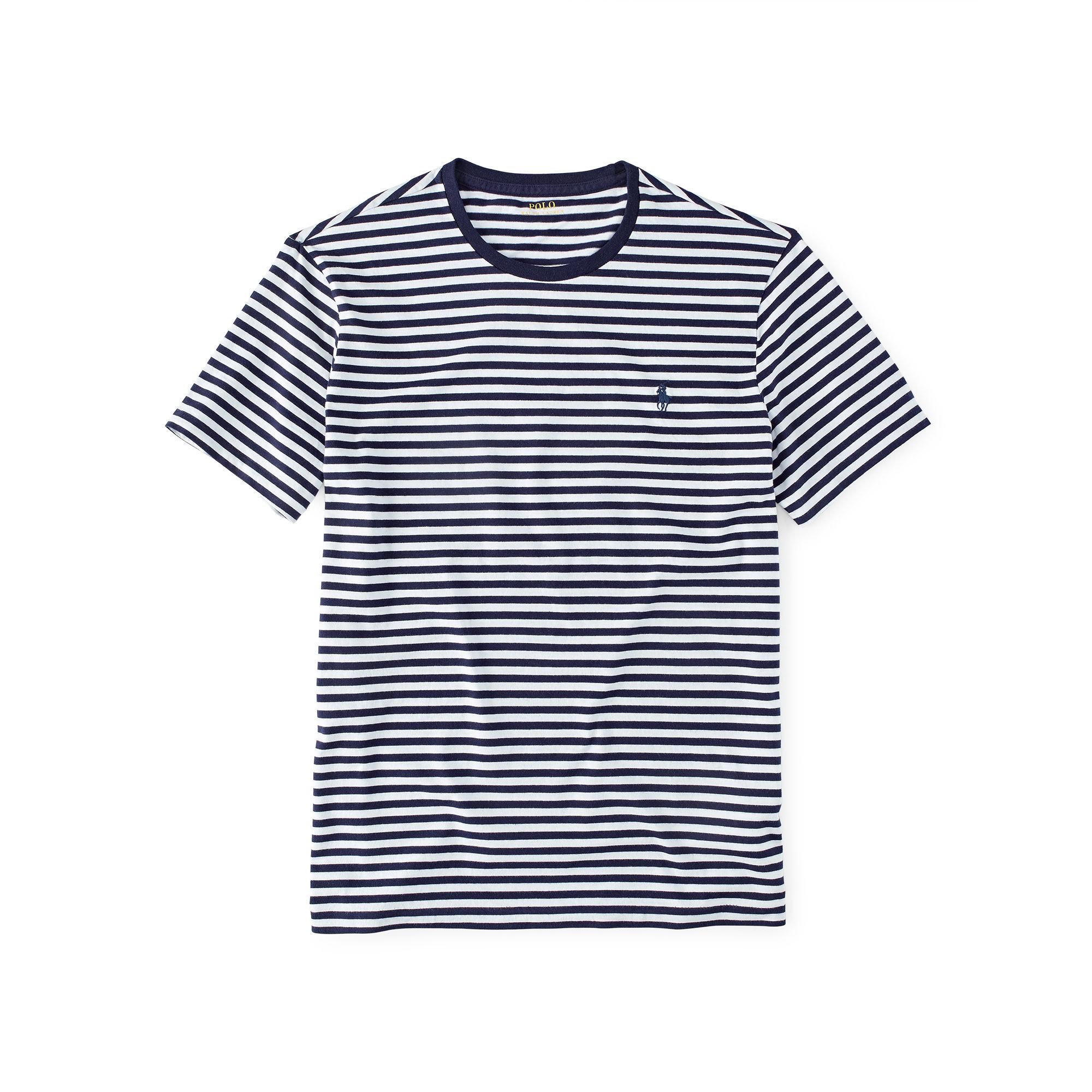 Polo ralph lauren custom fit striped t shirt in blue for for Polo custom fit t shirts