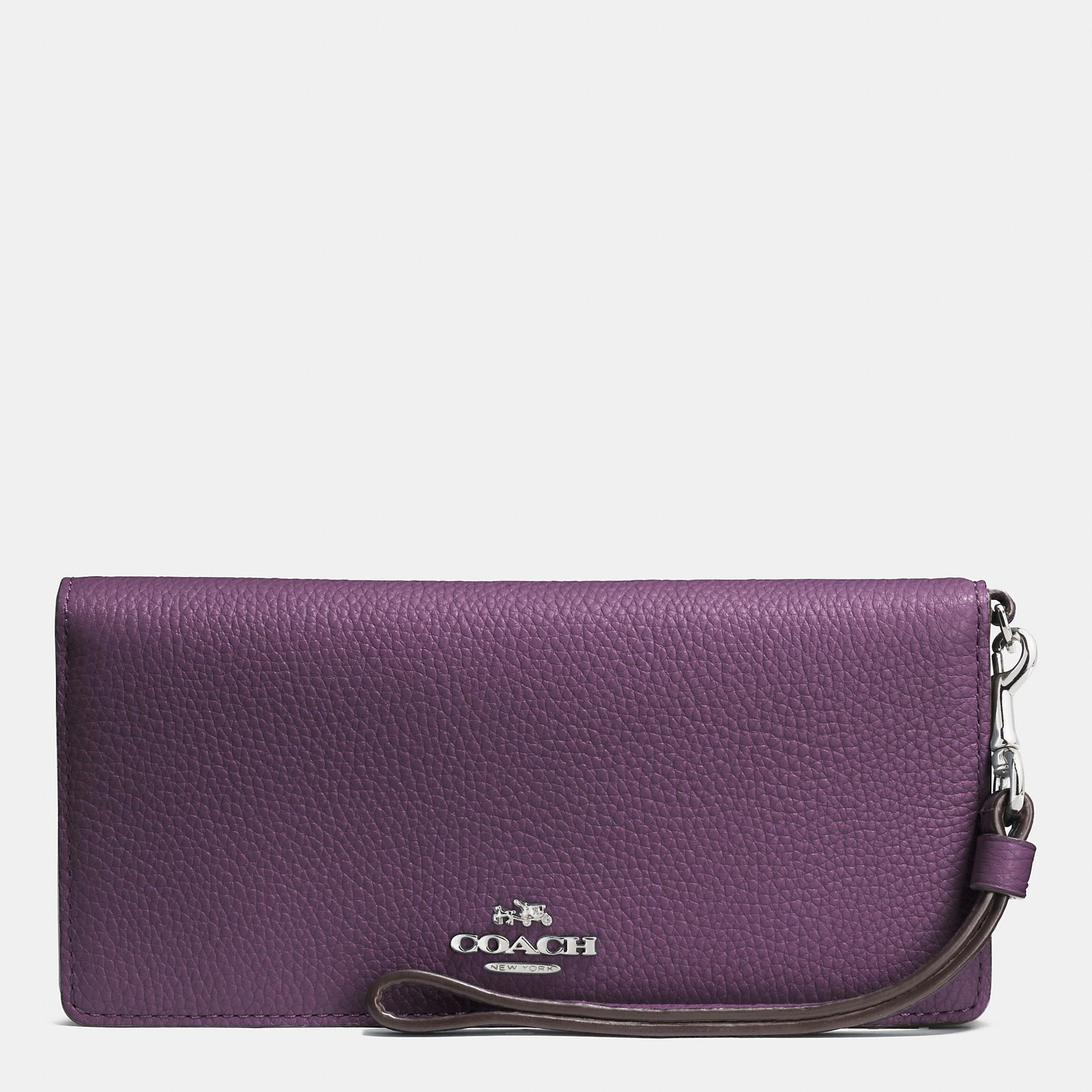 Coach Slim Wallet In Colorblock Leather In Purple Lyst