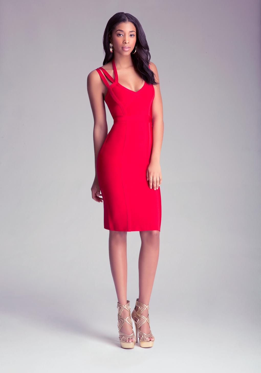 Bebe 3 Strap Midi Bandage Dress In Red Lyst