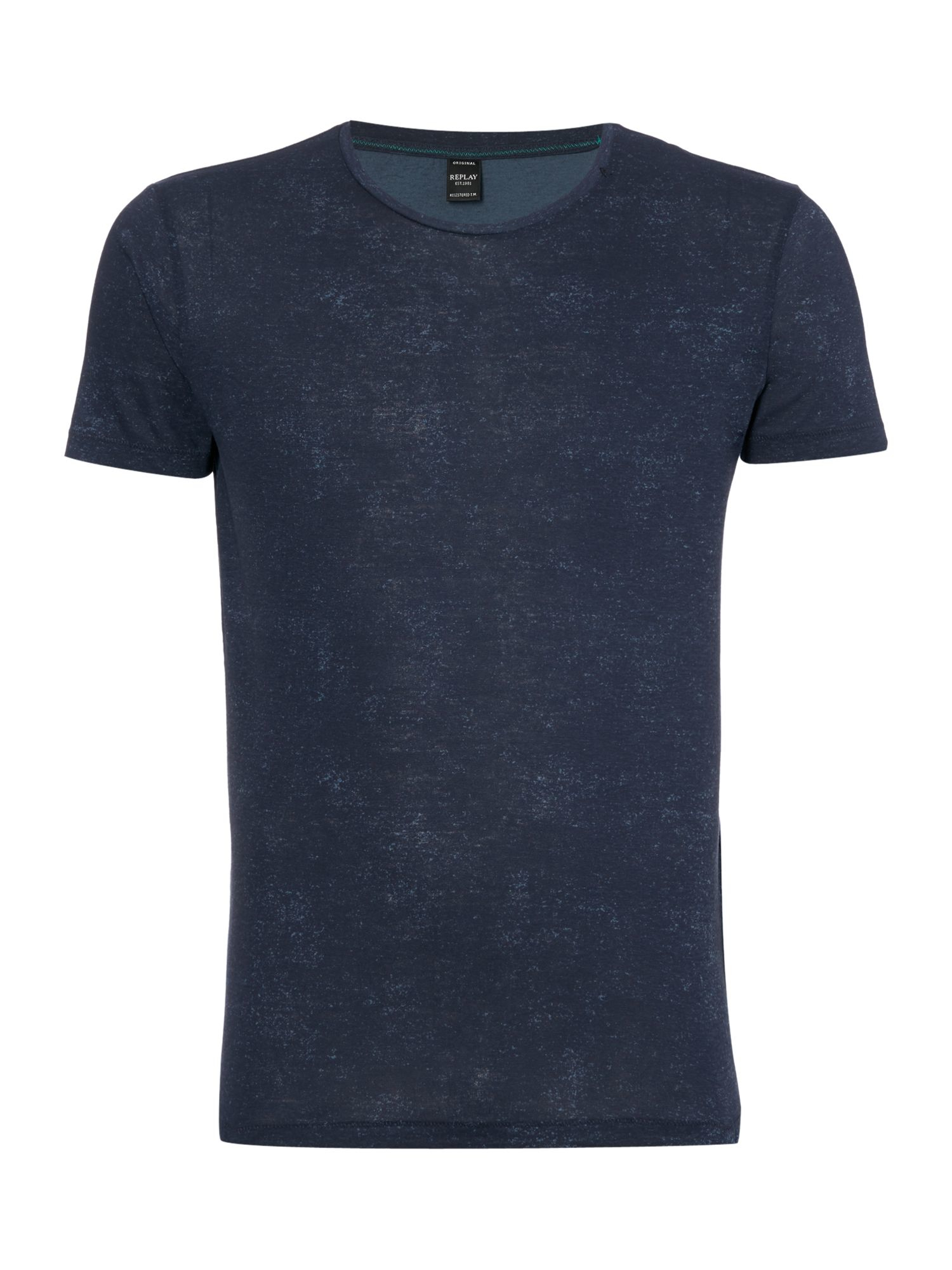 Replay Jersey T Shirt With Print Round Neck In Blue For