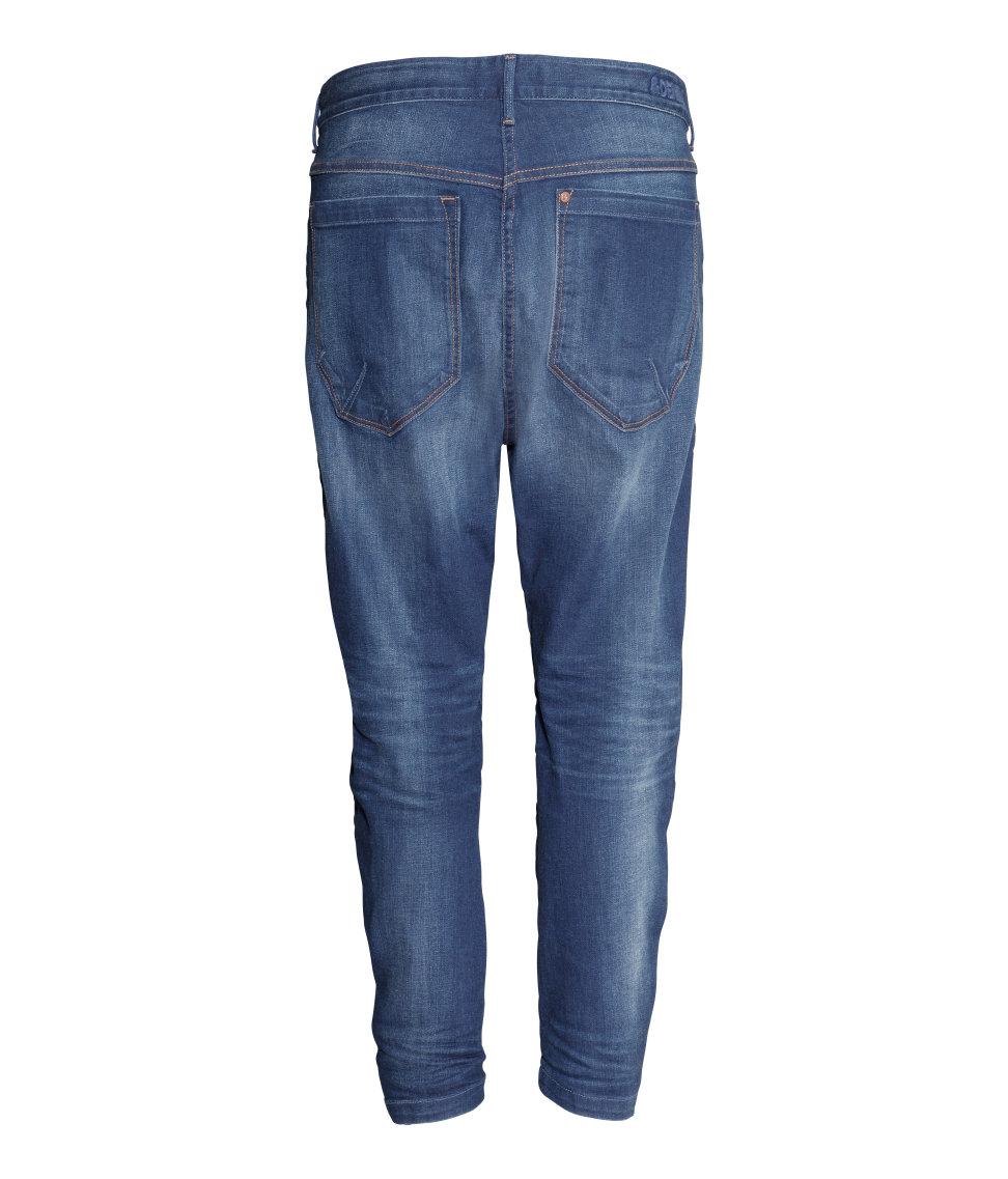h m tapered low jeans in blue dark denim blue lyst. Black Bedroom Furniture Sets. Home Design Ideas