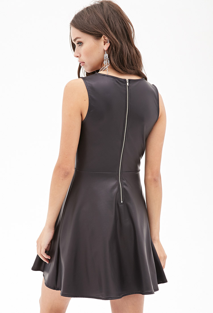 7f30a54d2a23 Lyst - Forever 21 Faux Leather Skater Dress in Black