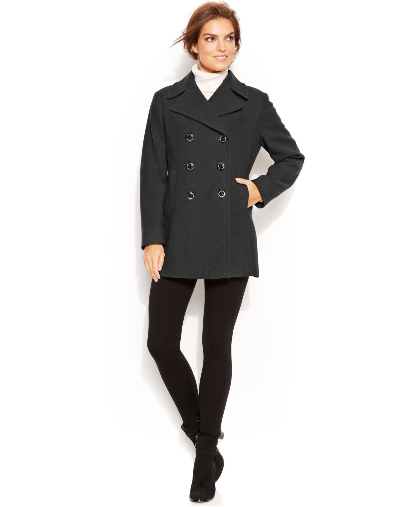 c973354bd5a Kenneth Cole Reaction Petite Double-Breasted Wool-Blend Pea Coat in ...