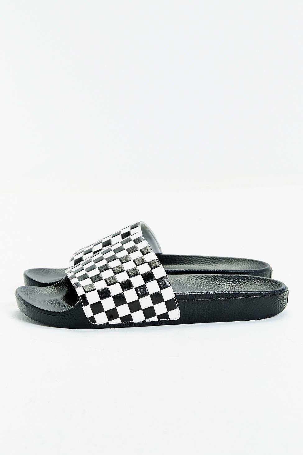 4968bef533c Lyst - Vans Slide-on Checkerboard Sandal in White for Men