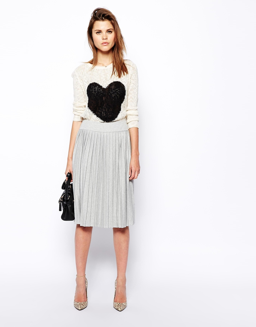 Asos Pleated Midi Skirt In Sweat in Gray | Lyst