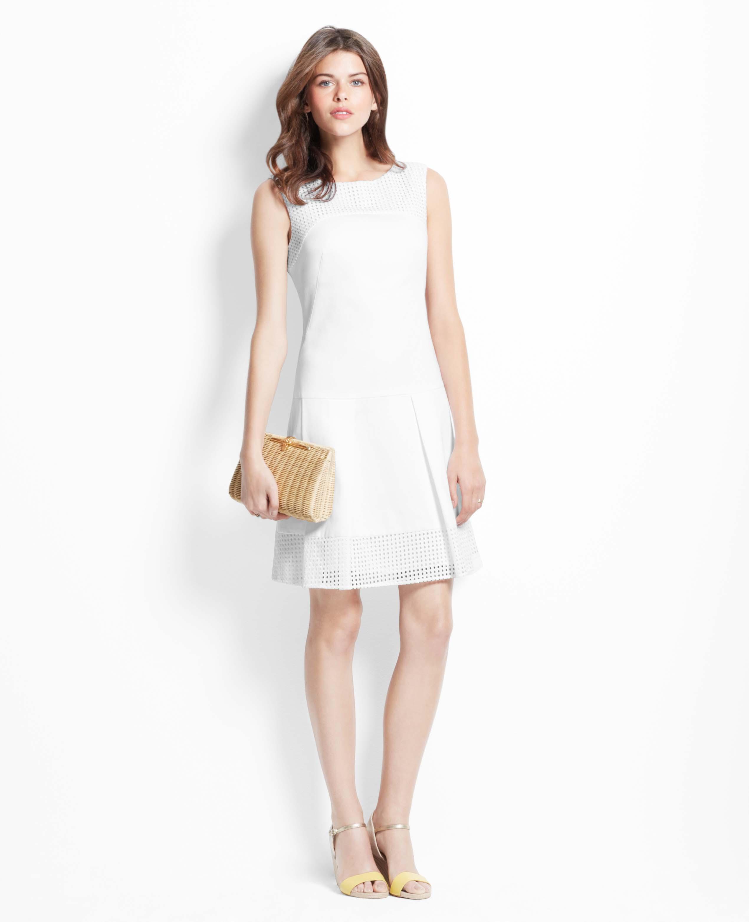 68cd473a9d7e Lyst - Ann Taylor Eyelet Drop Waist Dress in White