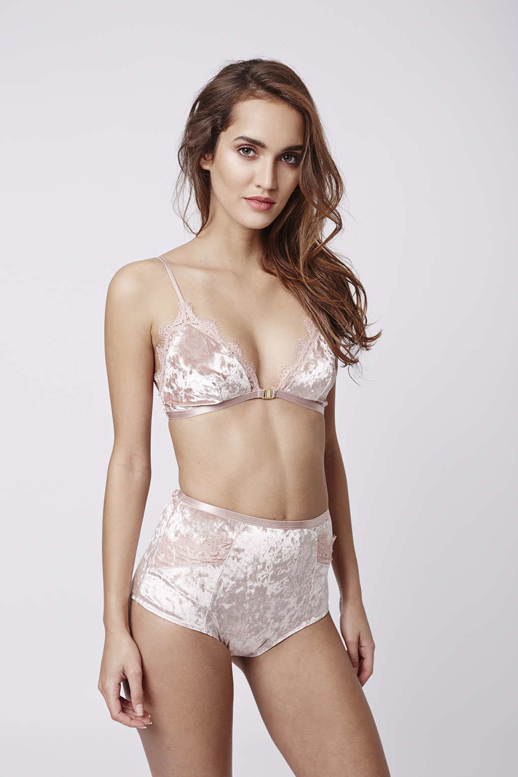 d17fda77ae Lyst - TOPSHOP Velvet And Lace Triangle Bra in Pink