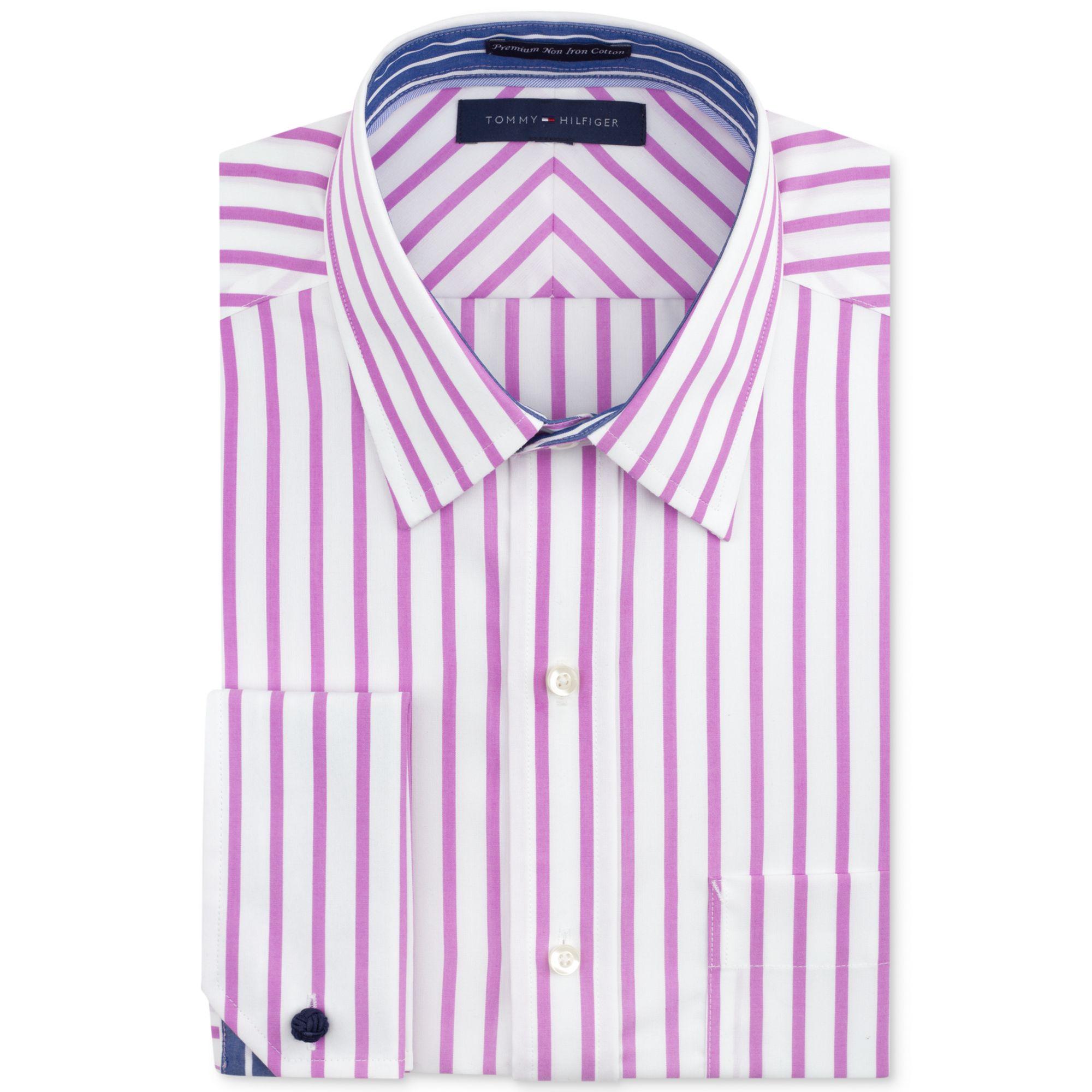 Tommy Hilfiger Noniron Magenta Stripe French Cuff Shirt In