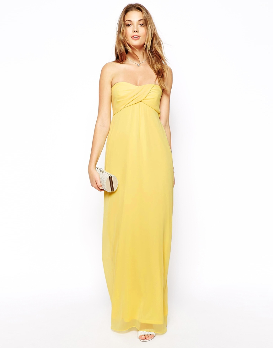 Lyst Asos Bandeau Maxi Dress In Yellow