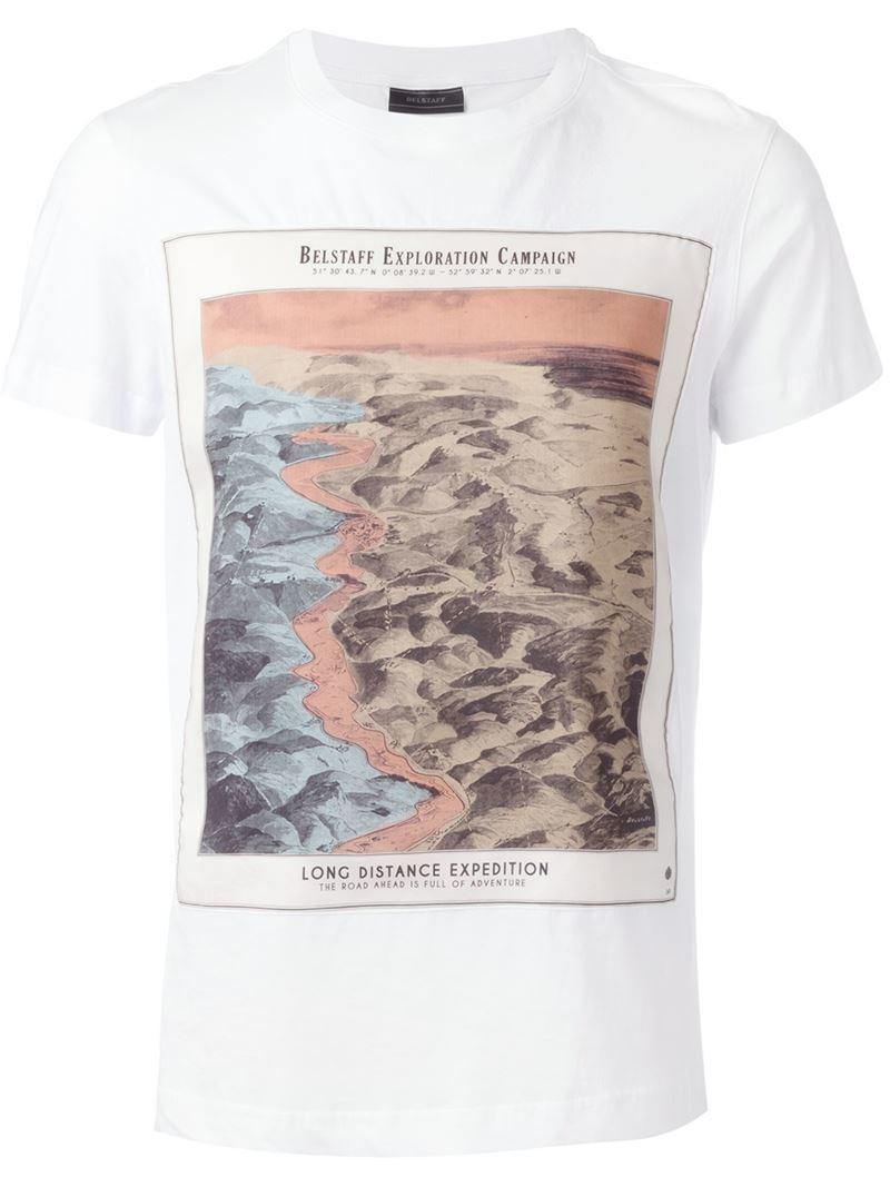 Belstaff 39 twain 39 digital print t shirt in white for men for Digital printed t shirts