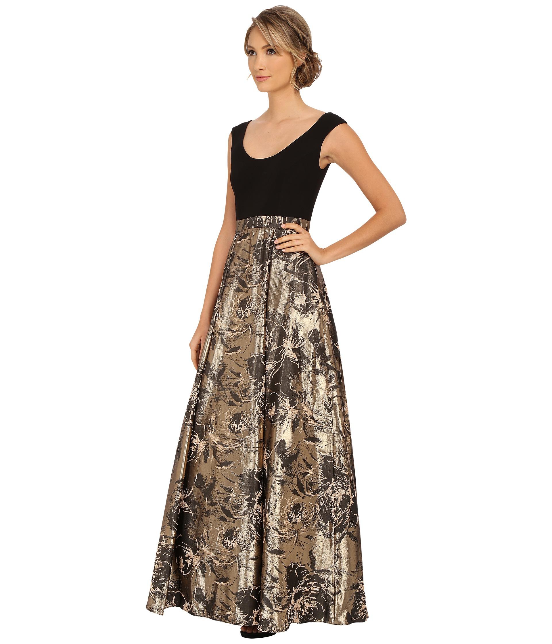 Lyst - Aidan Mattox Cap Sleeve Ballgown W/ Jacquard Foil Skirt in Black