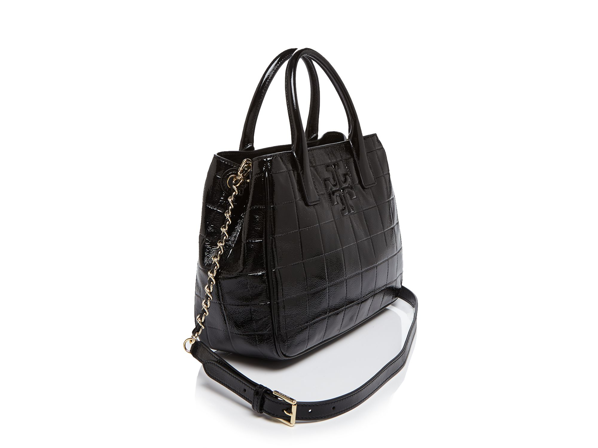 Tory burch Marion Quilted Patent Tote in Black | Lyst : tory burch quilted tote - Adamdwight.com