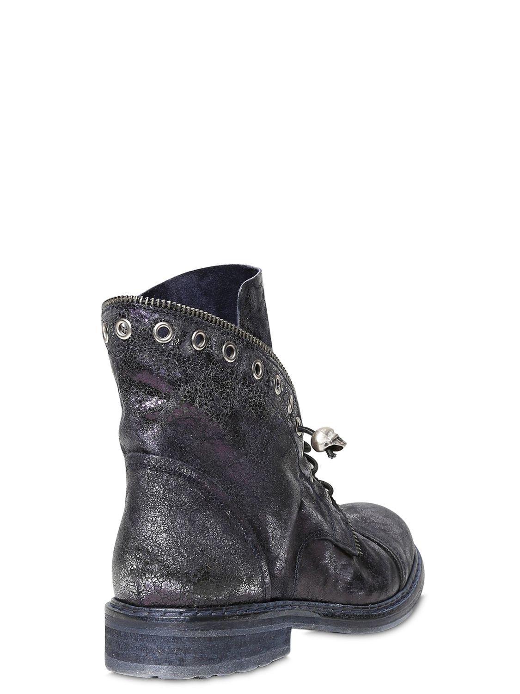 Fru It 20mm Metallic Leather Boots In Blue Lyst