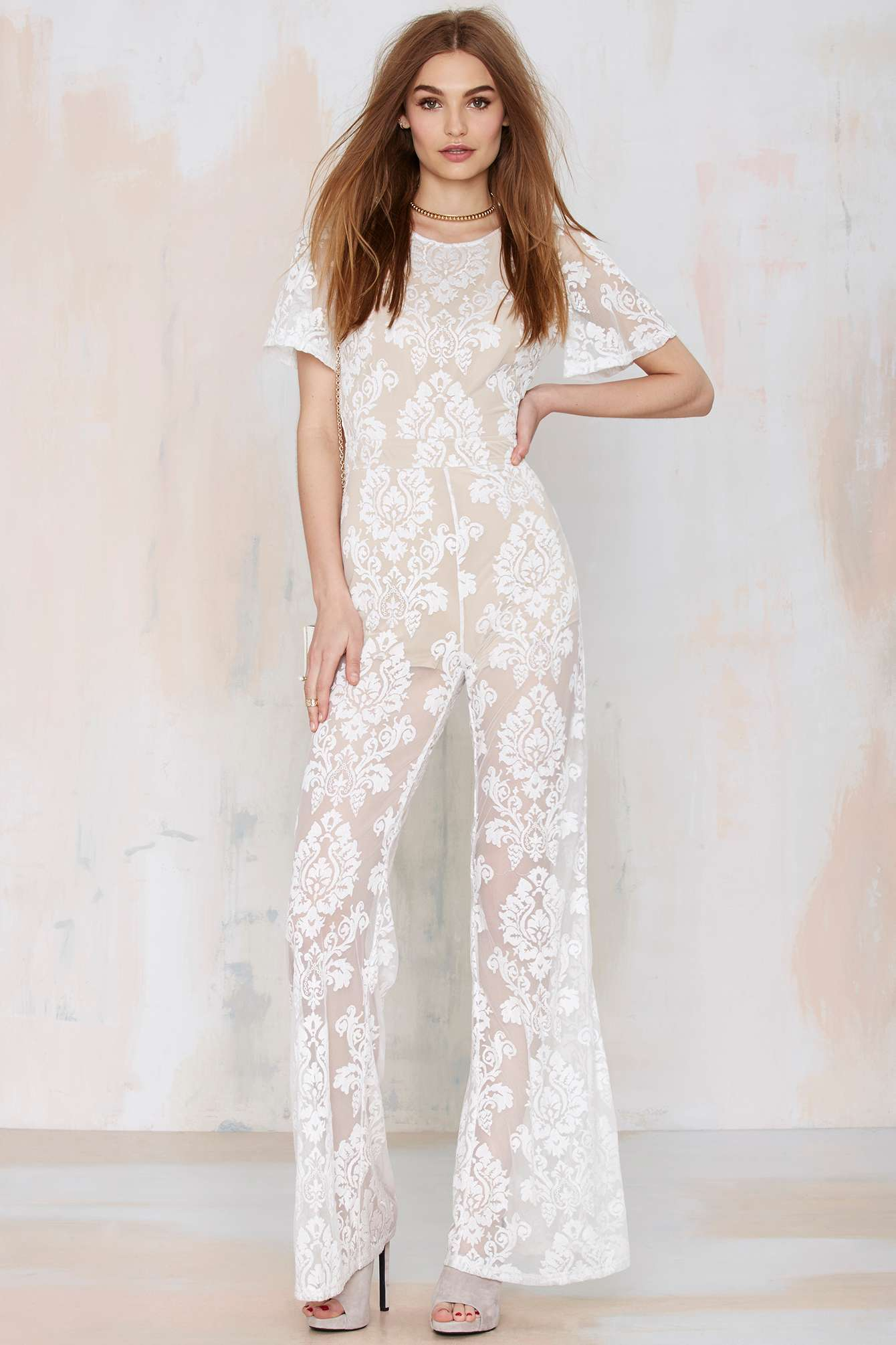Nasty gal One And Only Lace Jumpsuit in White | Lyst
