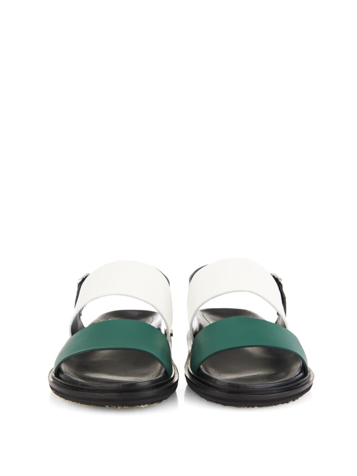 Marni Two-Tone Leather Sandals in Green for Men