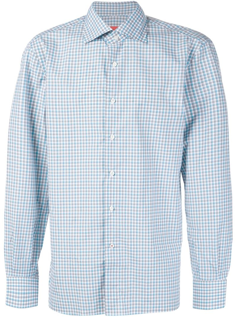isaia checked shirt in gray for men grey lyst